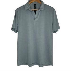 Lululemon Men's Light Blue 3 Button Polo Shirt Med